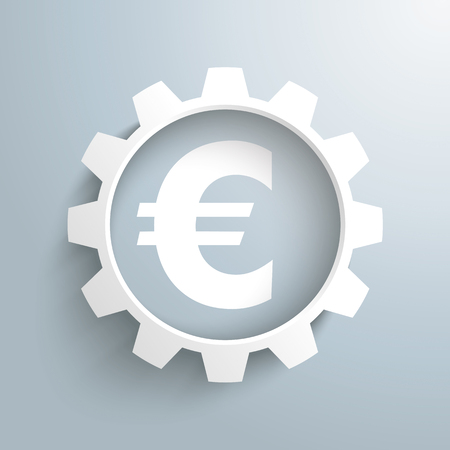 shareholder: White gear with euro on the gray background. 10 vector file.