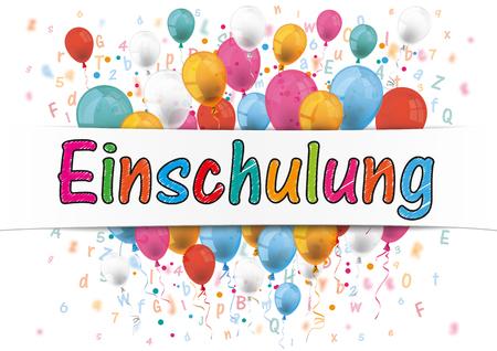 starting: German text Einschulung, translate Enrollment. 10 vector file.