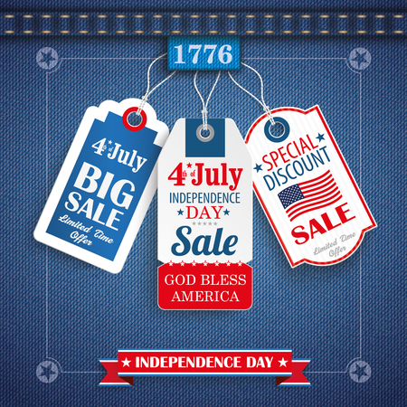 cotton fabric: Blue jeans fabric with 3 price stickers for Independence Day. 10 vector file.