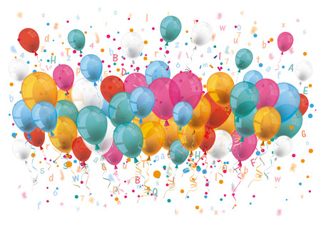 colored balloons: Colored balloons with numbers and letters on the white. 10 vector file.
