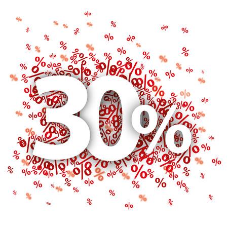 30 rode procenten op de witte. vector bestand.