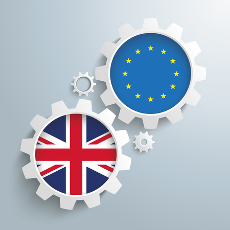 ten best: White gears with UK and EU flags. 10 vector file. Illustration