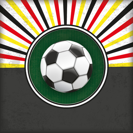 Vintage german colors background with green hole and a football. 10 vector file. Illustration