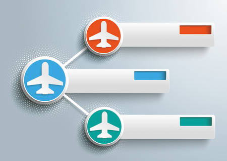 Infographic design with jets, circles and banners on the gray background. 10 vector file. Illustration