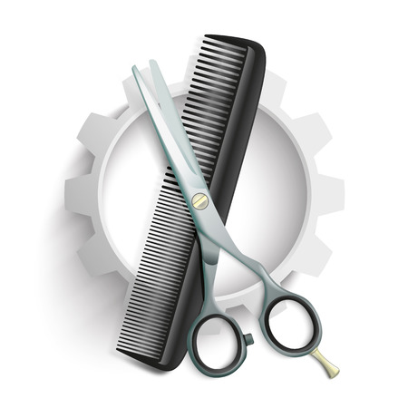 coiffeur: White gear with comb and scissors on the gray background. 10 vector file.