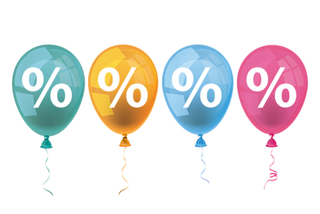 Percents with colored balloons on the white background. 10 vector file. Illustration