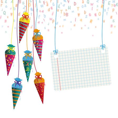 Candy cones with paper banner with letters on the gray background. 10 vector file.