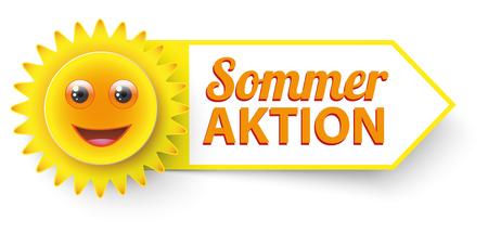 "Duitse tekst ""Sommer Aktion"", vertalen ""Summer Sale"". 10 vector bestand."
