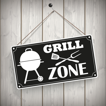slat: Sign with kettle barbecue and text Grill Zone.  10 vector file.