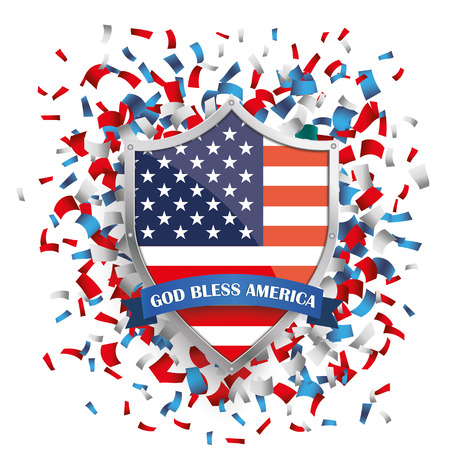 history month: Shield with US-Flag and confetti on the white. 10 vector file.