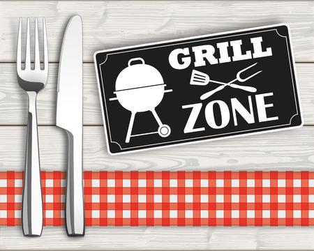"""Tenedor con el cuchillo y el signo con el texto """"Zona de barbacoa"""". 10 archivos de vectores. Ilustración de vector"""