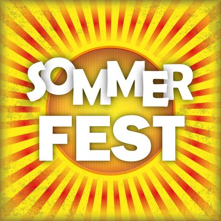 """Duitse tekst """"Sommerfest"""" vertalen """"Summer Fest"""". 10 vector bestand. Stock Illustratie"""