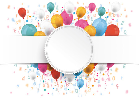 White paper banner, emblem, letters, numbers and colored balloons.  10 vector file.