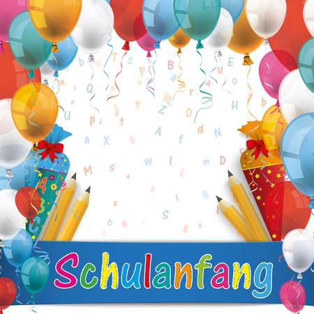 """Texte allemand """"Schulanfang"""", traduire """"Retour à l'école"""". 10 fichier vectoriel. Banque d'images - 60454325"""