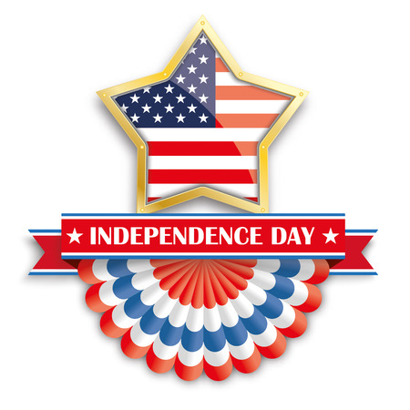 history month: Golden star with USA bunting, and ribbon for Independence Day. 10 vector file.