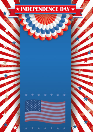 oblong: Oblong flyer design for the independence day with ribbon and bunting. Eps 10 vector file.