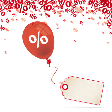 Red percents confetti with price sticker and red balloon on the white. Eps 10 vector file.