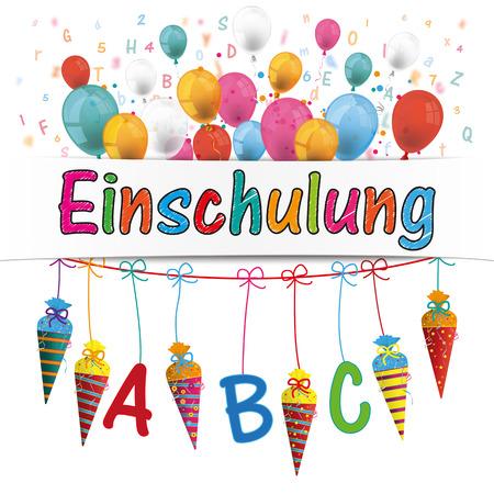 enrollment: German text Einschulung, translate Enrollment. 10 vector file.