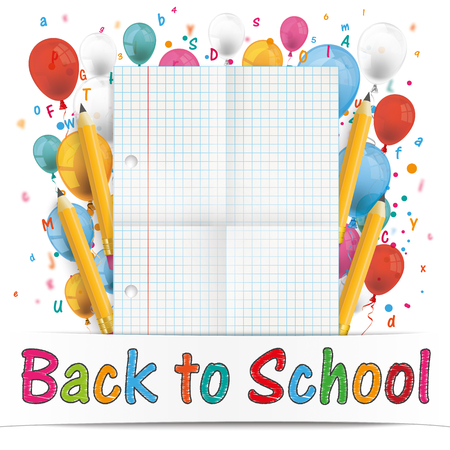 squared: Squared and folded paper with balloons, letters, numbers, pencils and text Back to School. Eps 10 vector file. Illustration