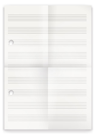 composing: White folded music paper on the white. Eps 10 vector file.