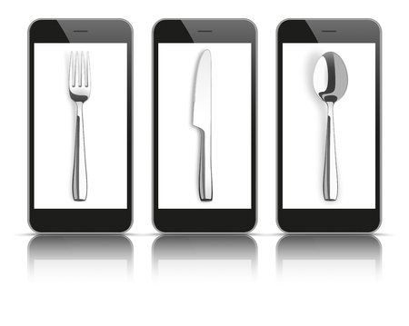 knife fork: 3 black smartphones with knife, fork and spoon on the white background.
