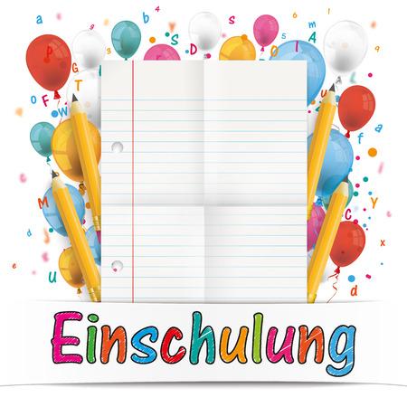enrollment: German text Einschulung, translate Enrollment. Eps 10 vector file.