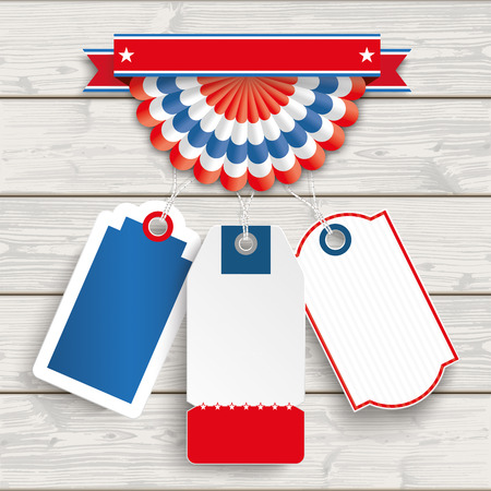 3 price stickers with US-bunting on the wooden background. Eps 10 vector file.