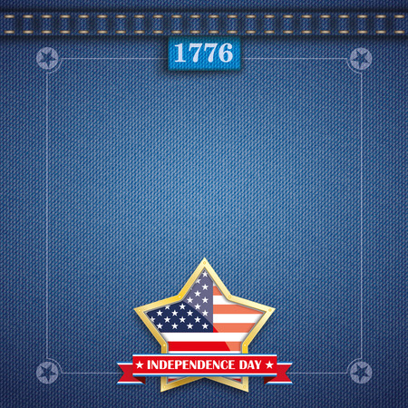 jeans fabric: Blue jeans fabric with vintage frame for Independence Day. Eps 10 vector file.