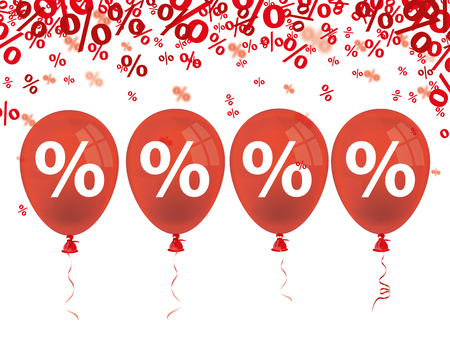 onlineshop: Red percents confetti with 4 red balloon on the white. 10 vector file.