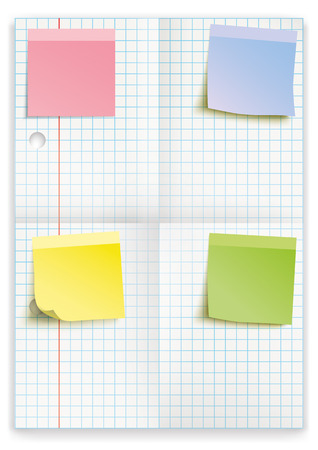 plated: Checked and folded school paper with colored sticks on the white. 10 vector file. Illustration