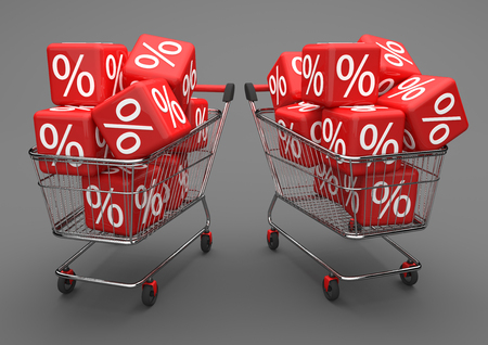 Two shopping carts with red percent cubes on the gray background. 3d illustration.