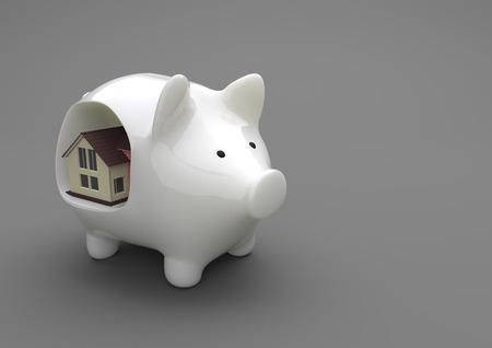 wad: Porcelain piggy bank with a house on the gray background. 3d illustration.