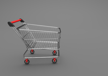 retailers: Shopping cart on the gray background. 3d illustration. Stock Photo