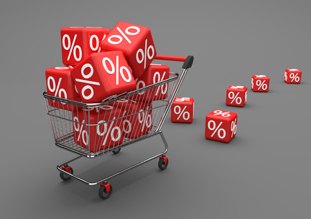 Shopping cart with red percent cubes on the gray background. 3d illustration.