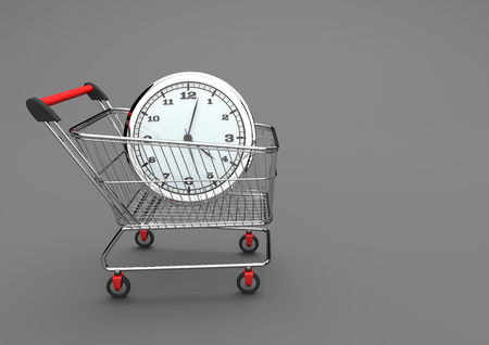 caddy: Watch in a shopping cart on the gray background. 3d illustration.