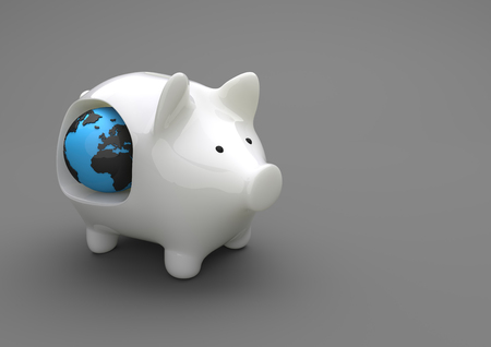 wad: Porcelain piggy bank with globe on the gray background. Stock Photo