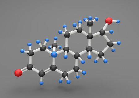 Molecule of testosterone on the gray background. 3d illustration. Stock Photo