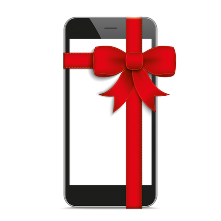 black shadows: Black smartphone with red ribbon and shadows on the white background.