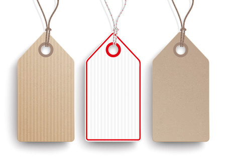 picked: Cardboard hanging price stickers set on the white background. vector file.