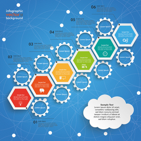comb out: Infographic with hexagons and gears on the blue background. vector file. Illustration