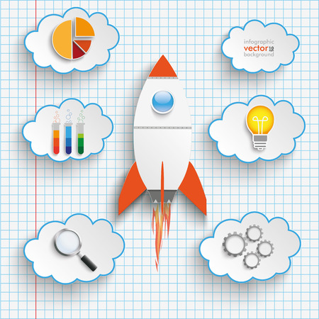 the fastest: Bulb with rocket and clouds on the checked paper. vector file.