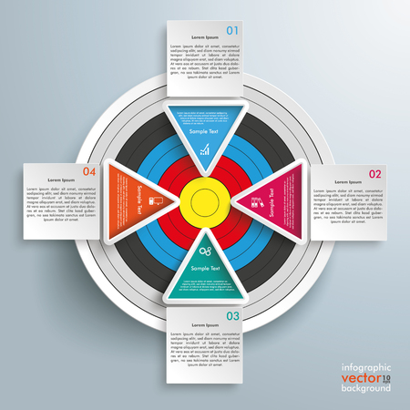 Infographic with target, squares and tirangles on the gray background. vector file. Illustration