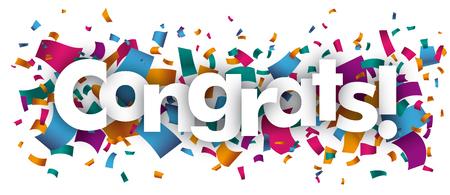 Confetti with text Congrats. vector file.