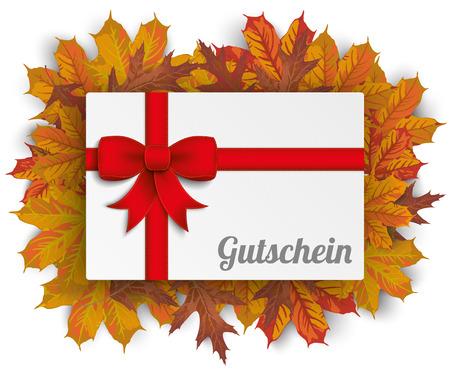 German text Gutschein, translate Coupon. vector file. Illustration