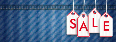 jeans fabric: Blue jeans fabric with price stickers and text Sale. vector file. Illustration
