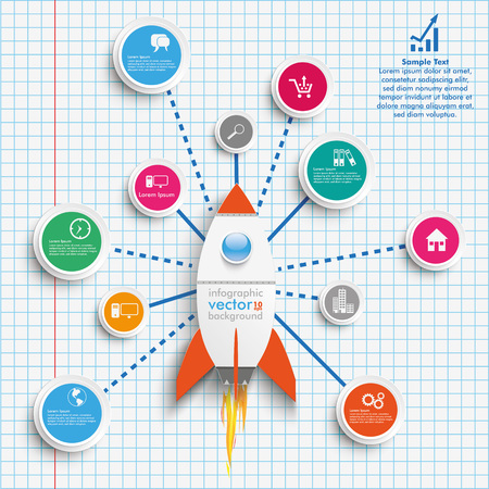 Infographic design with rocket, network and circles on the checked paper. vector file. Illustration