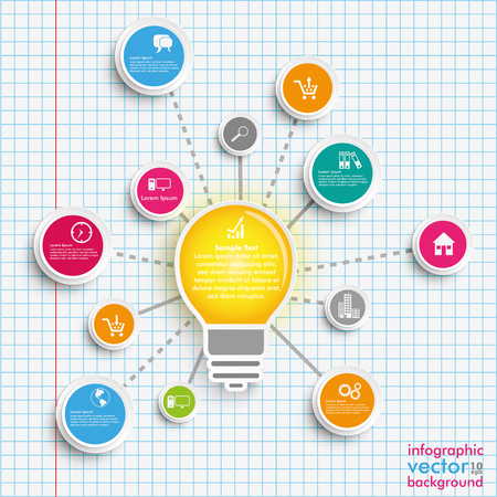 Infographic design with bulb, network and circles on the checked paper background. vector file.