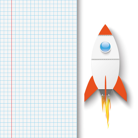checked: Checked paper with rocket. vector file.