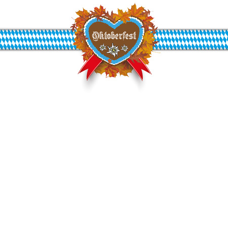 ribbon heart: Oktoberfest cover with ribbon, heart and foliage. vector file.
