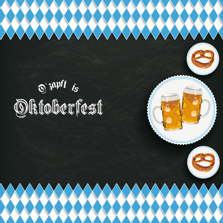 bretzel: German text Ozapft is and Oktoberfest, translate on tap and Oktoberfest. vector file. Illustration